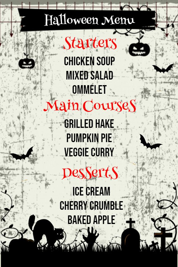 halloween themed starter menu design template halloween menu
