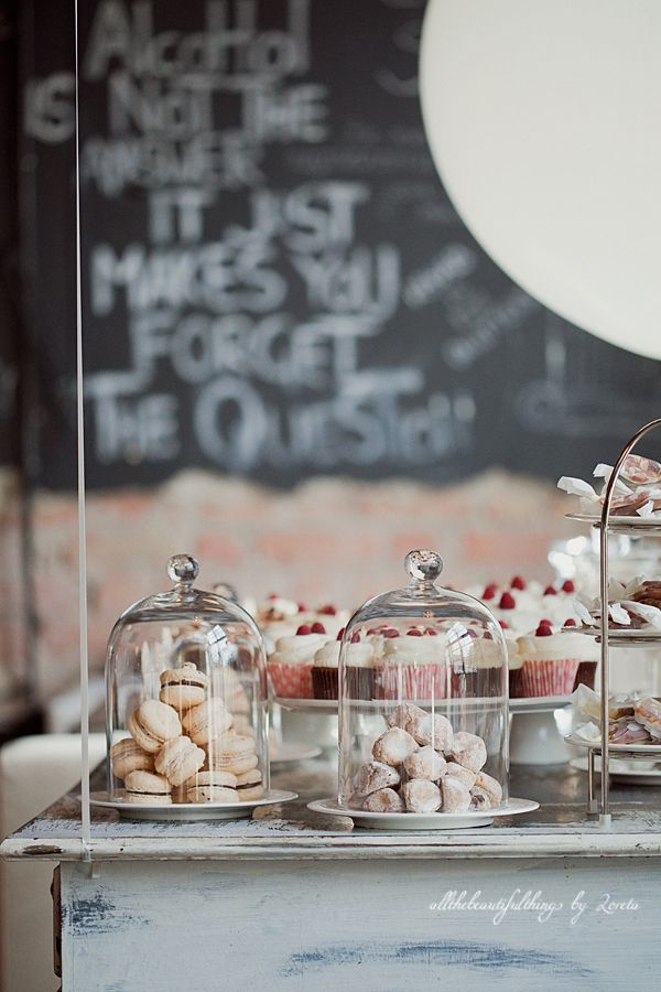 dessert table display | repin via: fork and flower