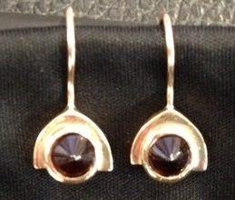 red garnet and 10k gold earrings