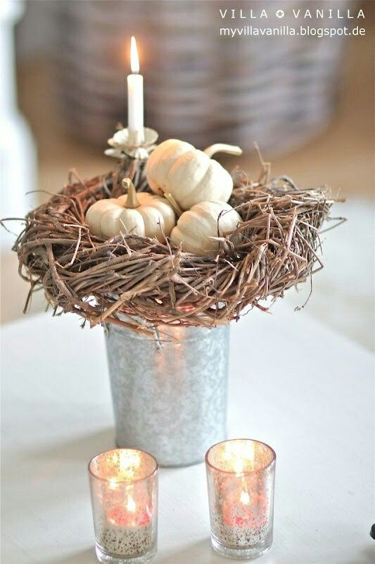 Love this idea. Very creative and for Xmas I would keep it the same but add ornaments where the pumpkins are in the nest.