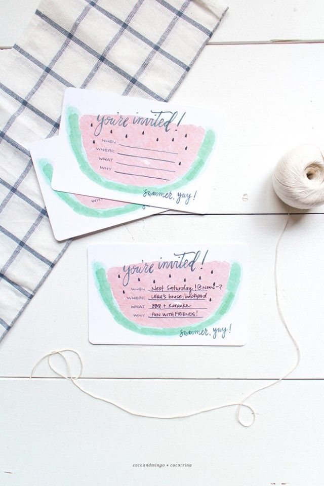 free printables, summer party invites, cocorrina, guest post