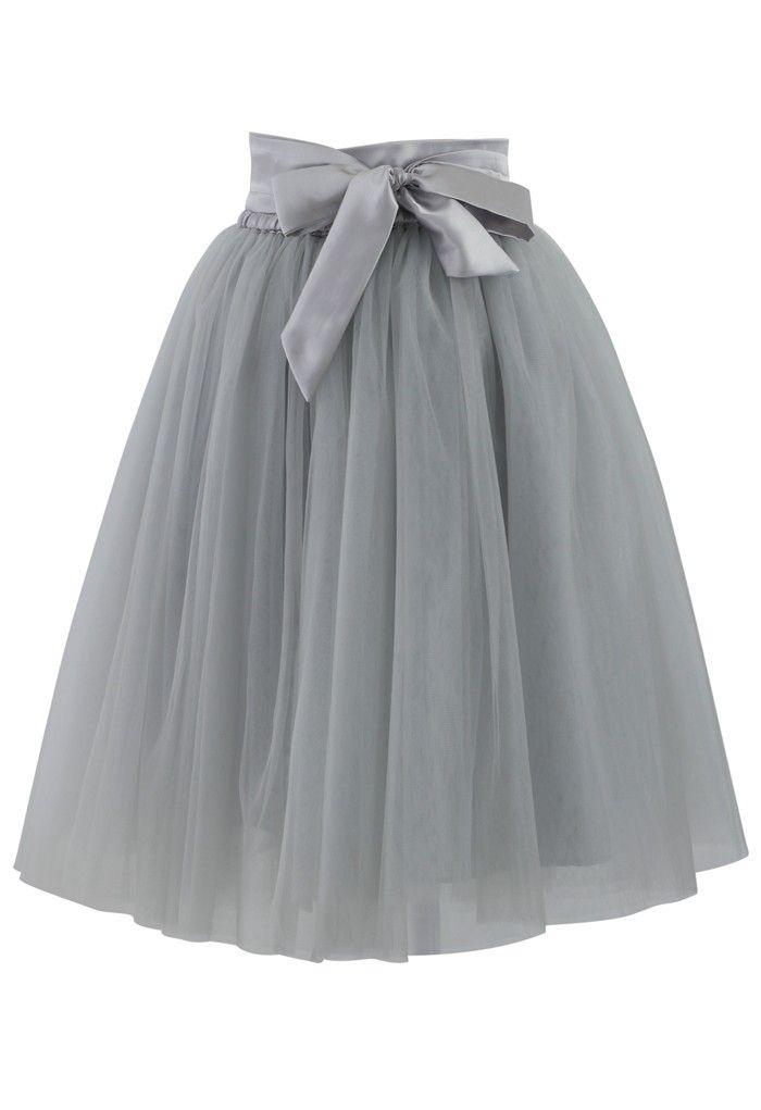 Gray Amore Tulle Skirt | USTrendy