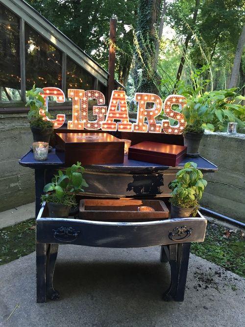 Cigar bar, herbs, wedding decor