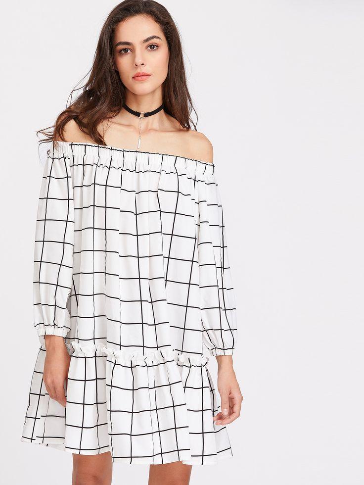 White Elasticized Neckline Lantern Sleeve Drop Waist Grid Dress