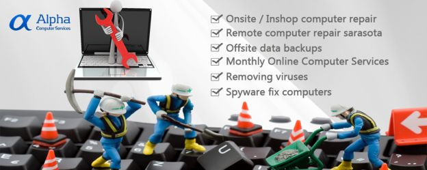 Sarasota computer repair made fast. Sarasota FL computer repair is fast and affordable for the average person and small businesses. Sarasota computer tech with over 14 years of web services and computer repair experience. Alpha Computer and Web Services provides Sarasota computer repair services to web hosting to website design services.  On-site computer repair $60 In-shop computer repair $50 Remote computer repair $35  Monthly computer repair and web services https://www.acshostings.com