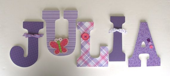 Baby Nursery Wall Letters Pink and Purple Butterfly por LetterLuxe