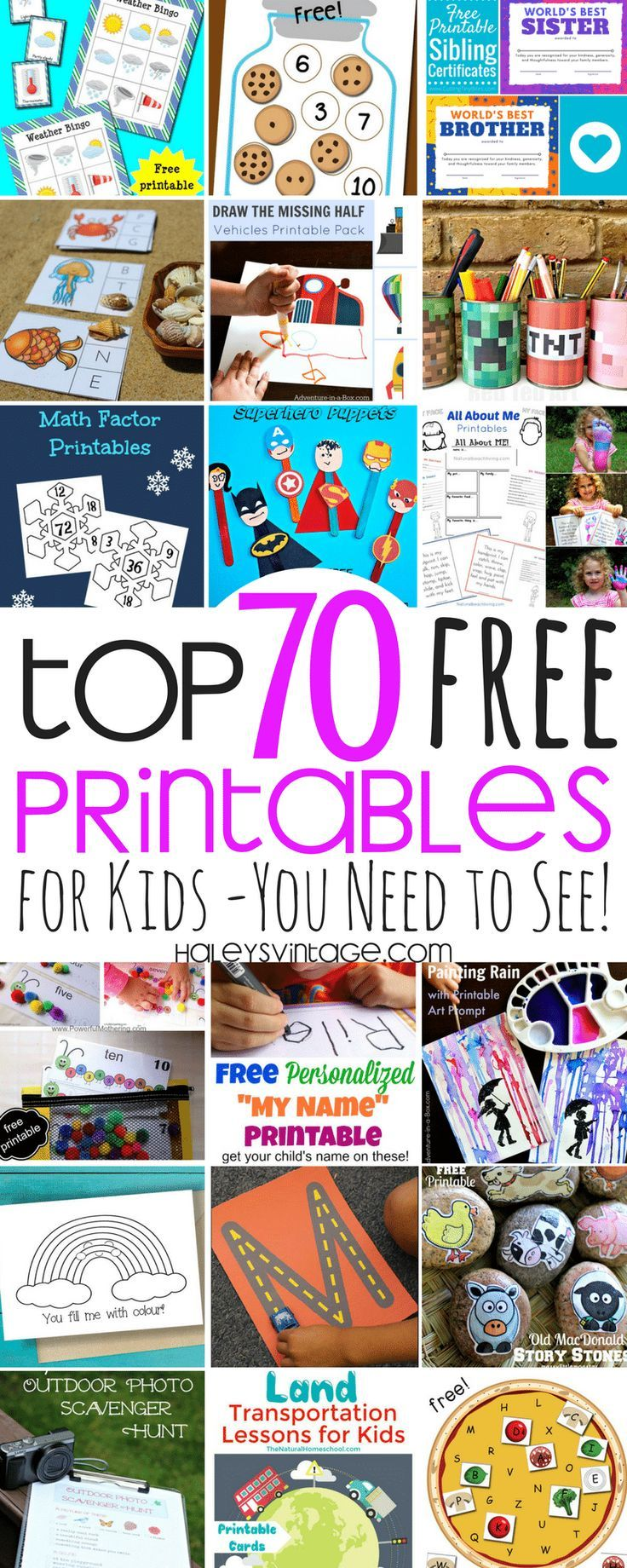 My Top 70 Free Printables for Kids - You Need to See! Love free printables? Some are educational, and others are just for fun, and today I am sharing My Top 70 Free Printables for Kids!