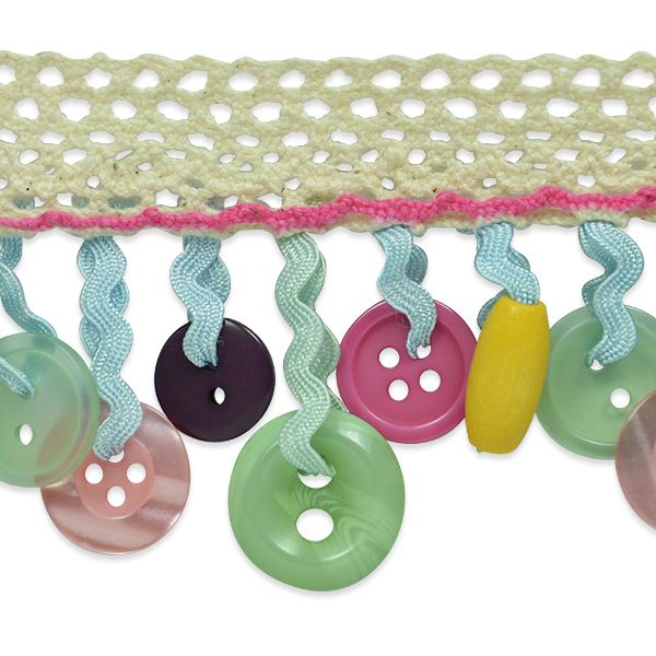Button Fringe Trim using Mini Rick Rack and Lace trim! So cute and inexpensive to make - Just cut a bunch of different lengths of mini rick rack and have them in one dish, and the buttons in another. This will help speed up the process a bit.