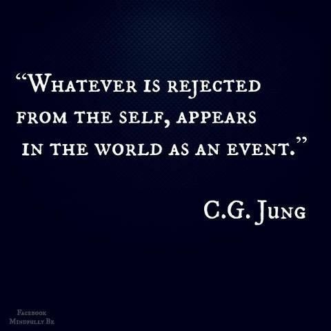 Whatever is rejected from the self, appears in the world as an event. ~ Carl Jung Quotation