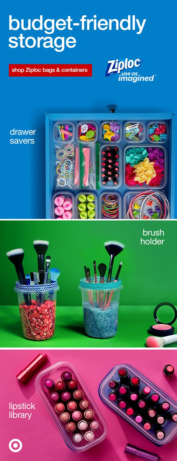 Organizing is beautiful, right? Your everyday Ziploc seal top bags and containers make it easy-peasy. Here are 3 fun ideas to store, save & organize. Keep your go-to drawer clean and clutter-free with custom slots for all your items. Make a DIY brush holder or a lipstick library, sorted from darks to lights. Shop Ziploc and Use As Imagined!