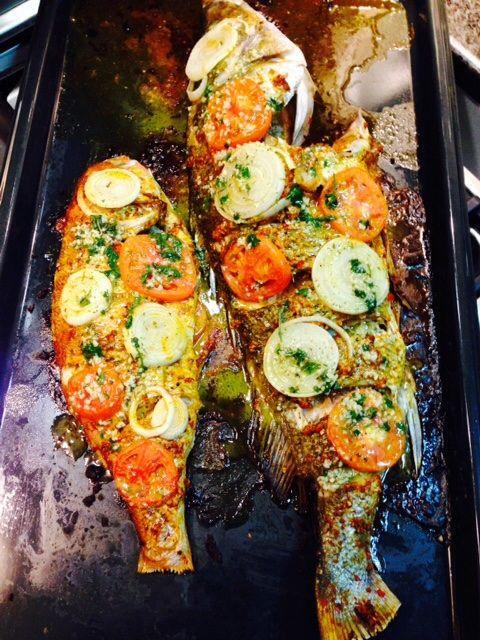 Oven baked masala fish.