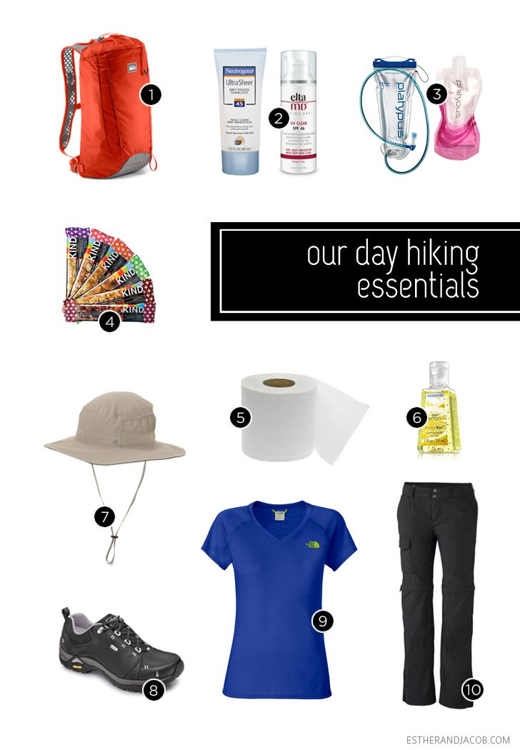Day Hike Checklist - glad to see the Neutrogena sunscreen (highly rated by my dermatologist) and the wide brimmed hat. Not sure a roll of toilet paper is required!
