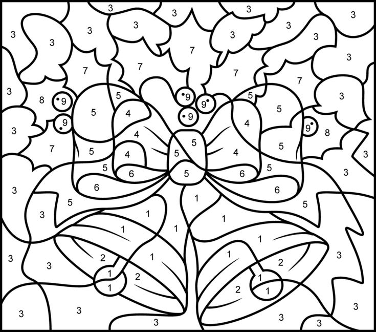 Colouring By Number Christmas : Christmas bells printable color by number page hard