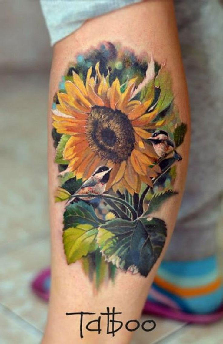 23 best sunflower tattoo realistic images on pinterest | leaves