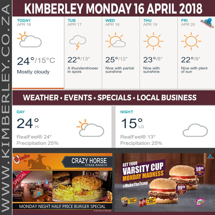 KimberleyToday, Monday 16/04/2018 - http://www.kimberley.org.za/kimberleytoday-monday-16-04-2018/?utm_source=PN&utm_medium=Pinterest+History+KImberley.org.za&utm_campaign=NxtScrpt%2Bfrom%2BKimberley+City+Info - 🗓#KimberleyToday, Monday 16/04/2018 🌦 Today: Mostly cloudy. 🌑 Tonight: Overcast. 🌟 Max UV Index: 3 ⛈ Thunderstorms: 24% 🌬 Wind: NNE 11 km/h 🌬 Gusts: 20 km/h &#x1f37