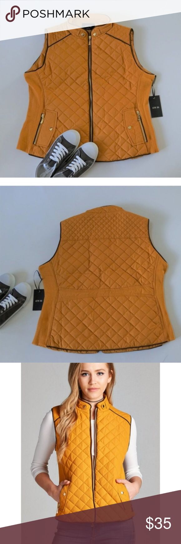 Quilted Padded Vest 3X Zip Pockets Mustard Quilted Padded Vest 3X Zip Pockets Lightweight    Features:    poly; poly lining  vegan suede piping  front zip  pockets  side ribbing that stretches for a perfect fit  hand wash    Measurements, laying flat (in inches):  Bust: 25.25 3X  Waist: 22.5  Length: 26 Jackets & Coats Vests