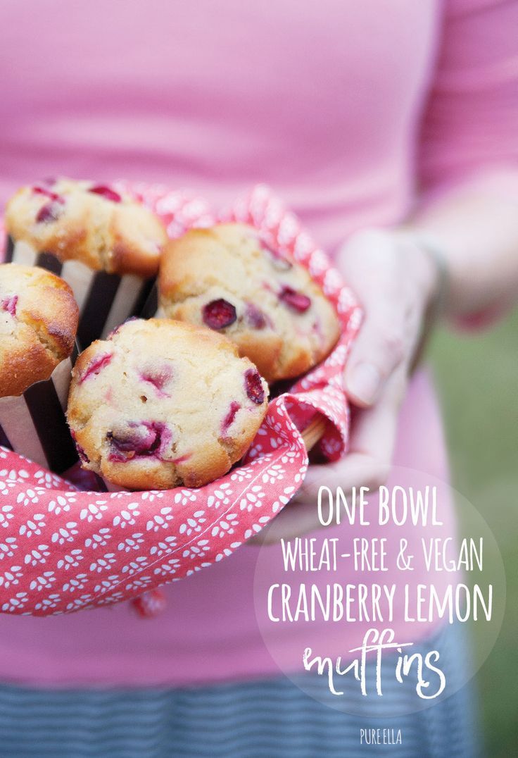 Delicious One-Bowl Wheat-free Vegan (egg & dairy free) Cranberry Lemon Muffins that are easy and quick to make. Naturally low in sugar too!