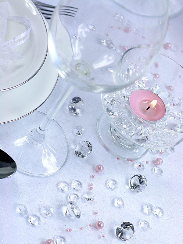 Bordskristaller clear 100 st förp.12 mm facettslipade