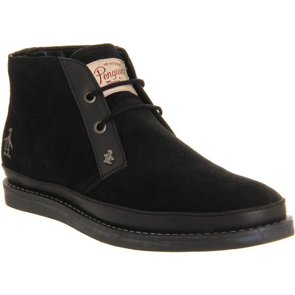 Original Penguin Lodge Chukka Boots ($57) ❤ liked on Polyvore featuring men's fashion, men's shoes, men's boots, roger hammerstein, black suede, boots, men, shoes, mens vintage boots and mens black chukka boots