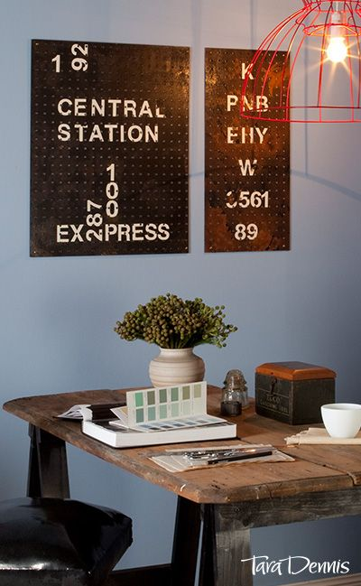 A wooden pegboard can be cleverly disguised to look like vintage, perforated metal signage. See how to create your very own art work to decorate your wall.