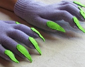 Gloves with claws, purple and green, for Halloween costume