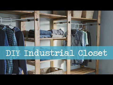 Ana White   Build a Industrial Style Wood Slat Closet System with Galvanized Pipes   Free and Easy DIY Project and Furniture Plans need to make this and rip out the crap in my sliding cupboard