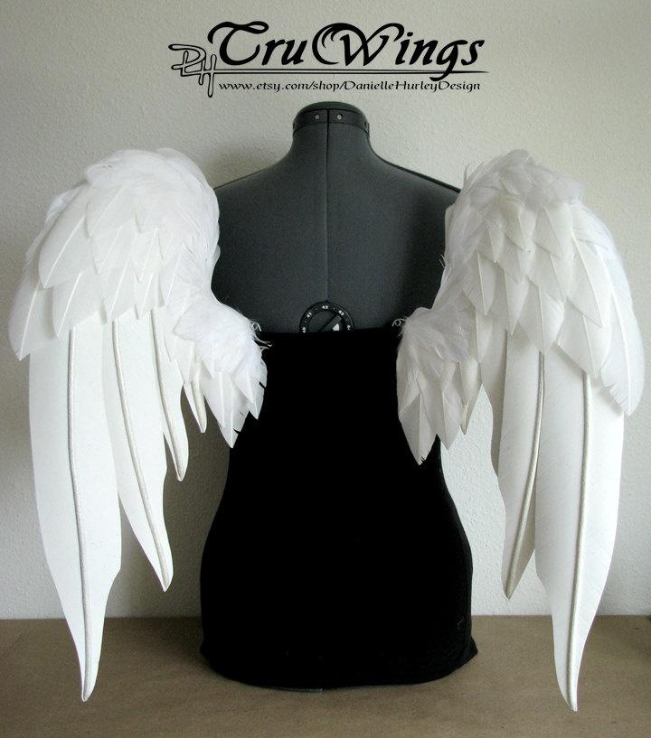 """Shalom - Handmade White Angel Costume Wings - 24""""H x 30 ..."""
