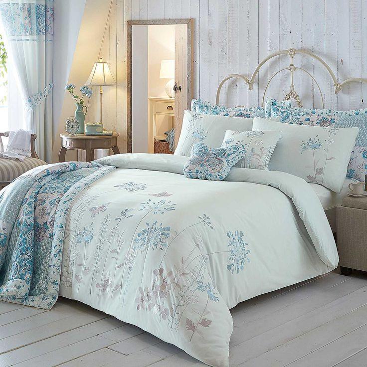 Botanical Border Duck Egg Duvet Cover & Standard Pillowcase Set