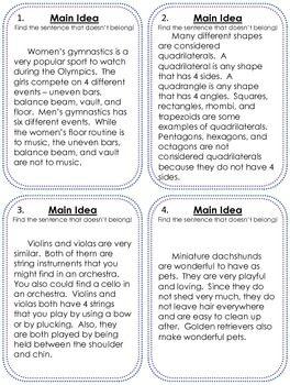 FREE Main Idea practice - Kalena Baker - TeachersPayTeachers.com