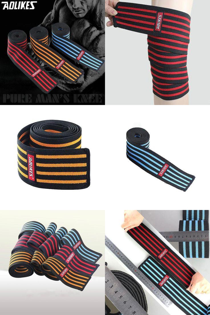 [Visit to Buy] 1PC Knee Protect Powerlifting Sports Fitness Bandage Taekwondo Football Knee Support Adult Men Wraps Leggings Straps HBK106 #Advertisement