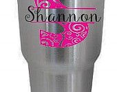Stainless Steel Tumbler Monogram Decal, Personalized vinyl decal, Custom waterproof sticker, colorful oracal vinyl,  Samantha font, 2 layers