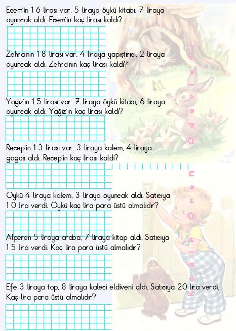ilkokul ödevleri: 1. sınıf toplama ve çıkarma problemleri