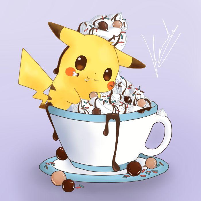 Pikachu disfrutando de una buena merienda #Pikachu #Pokemon #Cream #Chocolate #Cute #Anime #Manga #Drawing #Painting #Draw #Paint #Art #Artistic #Picture #Graphics