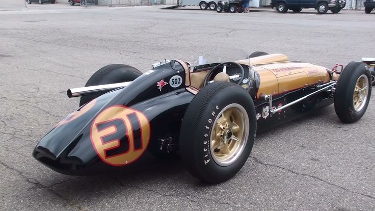 Vintage Racing - 1950s Indy Cars startup and race. LOUD!!!