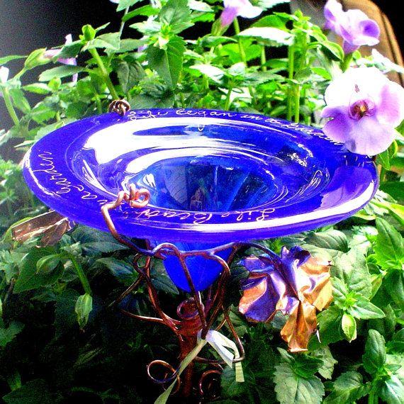 """BUTTERFLY FEEDER, 18K Gold, Cobalt Blue, Stained Glass, inscription """"Life Began in a Garden"""",  Garden art"""