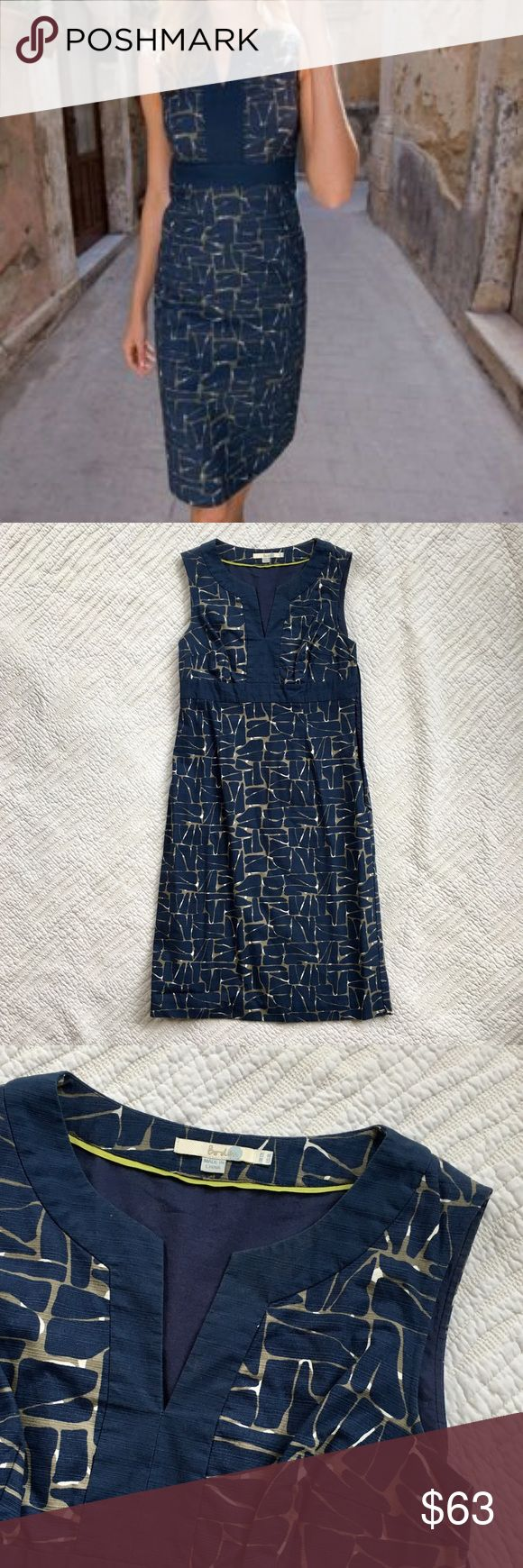 "Boden Notch VNeck Textured Cotton Navy Shift Dress EUC shift dress from Boden in 100% cotton. Beautiful textured fabric featuring a geometric navy and slate pattern with white accents. Tank dress with notched V-Neck. Fully lined. Size 8L. 40"" long. 16"" waist flat. 18"" bust flat. Boden Dresses"