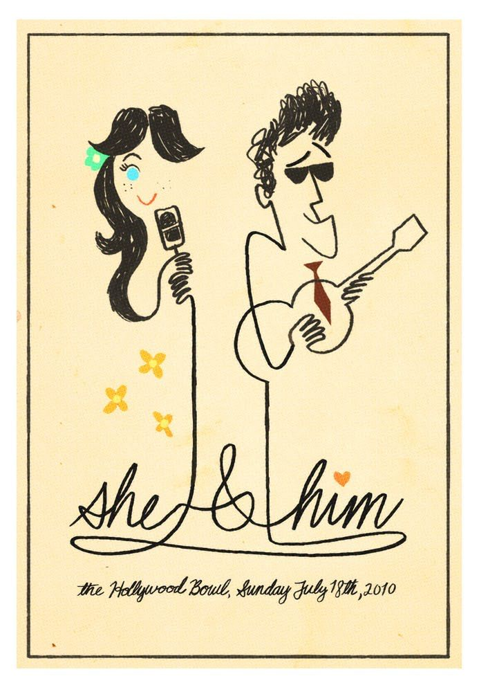 She & Him.Nate Wragg, Gig Posters, Illustration, Art, Graphics Design, Music Posters, Zooey Deschanel, Zooeydeschanel, Concerts Posters