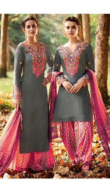 Grey Cotton And Satin Patiala Salwar Suit With Printed Dupatta - DMV14686