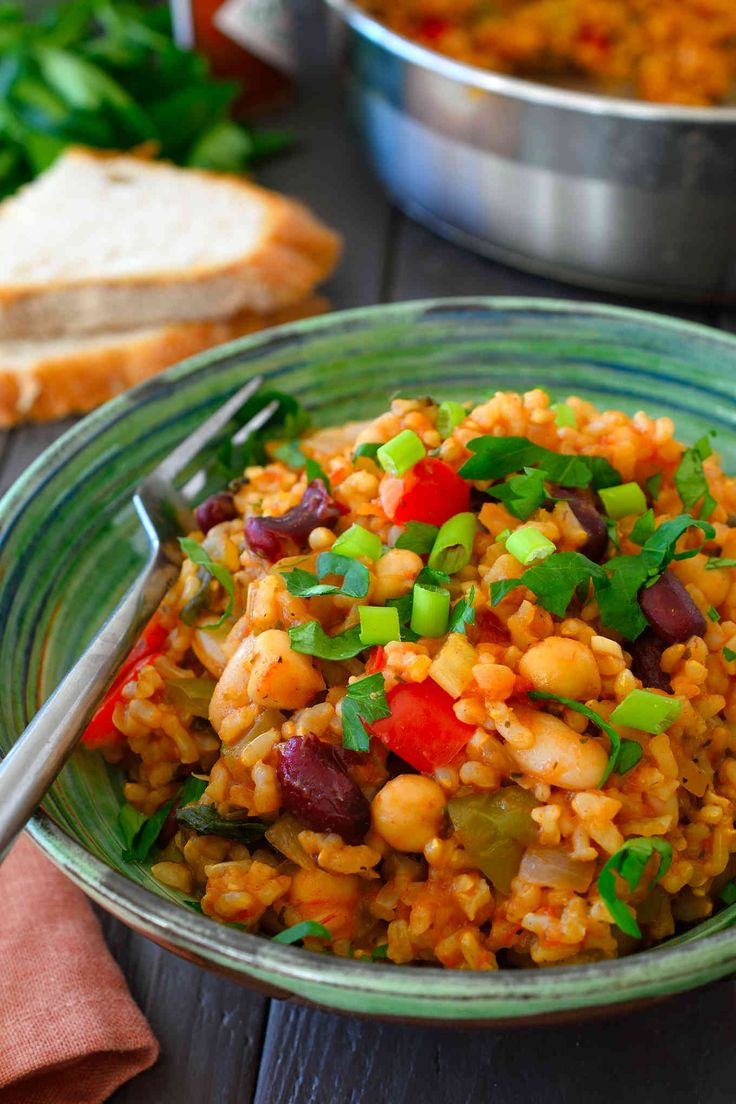 This vegan jambalaya recipe is easy to make with basic pantry staples. Tomato rice with loads of herbs, spices and a selection of mixed beans.