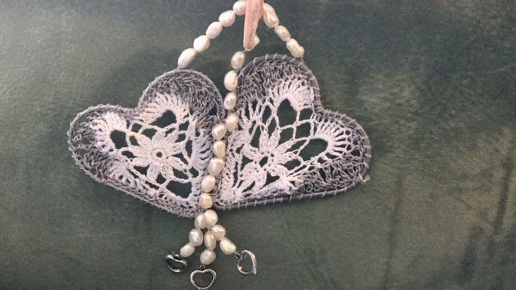 Crochet hearts for Dream catcher