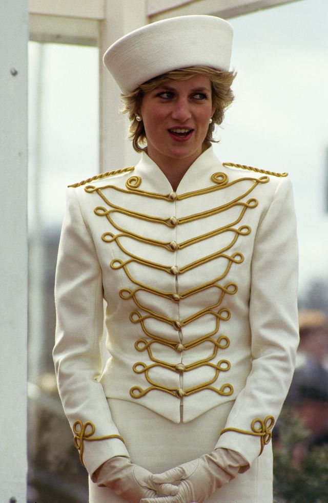 Princess Diana donned a military-look jacket in the late ' 80s by Catherine Walker and matched it to a hat by Graham Smith. Description from fashion.about.com. I searched for this on bing.com/images