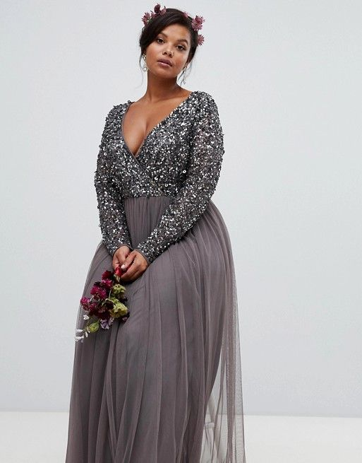 6066bd889ff94 Maya Plus | Maya Plus long sleeve wrap front maxi dress with delicate sequin  and tulle skirt in charcoal