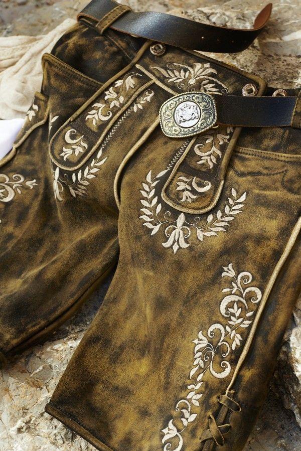Kidstracht kurze Herren Lederhose braun antik used mit Träger Lederhose Ziege