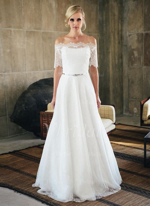 Wedding Dresses - $188.45 - A-Line/Princess Strapless Sweep Train Lace Wedding Dress (0025059740)
