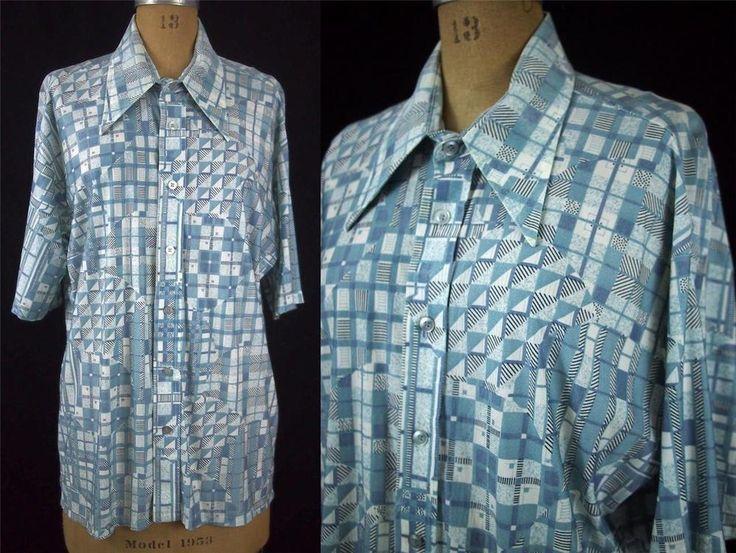 vtg 70s MISTER MAN OF CA Blue Geometric Mod Atomic Disco Shirt Hipster XL EUC #Mister Man of California