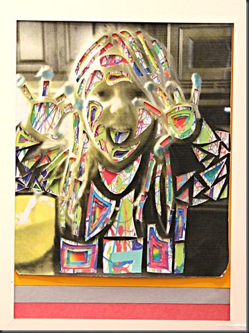 Cut outs over art.  Photograph, copy, cut and overlay.: Art Stuff, Camps Ideas, Art Lessons, Art Class, Photos Stained, Photos Cut, Portraits Photos, Interesting Ideas, Altered Photos Fun