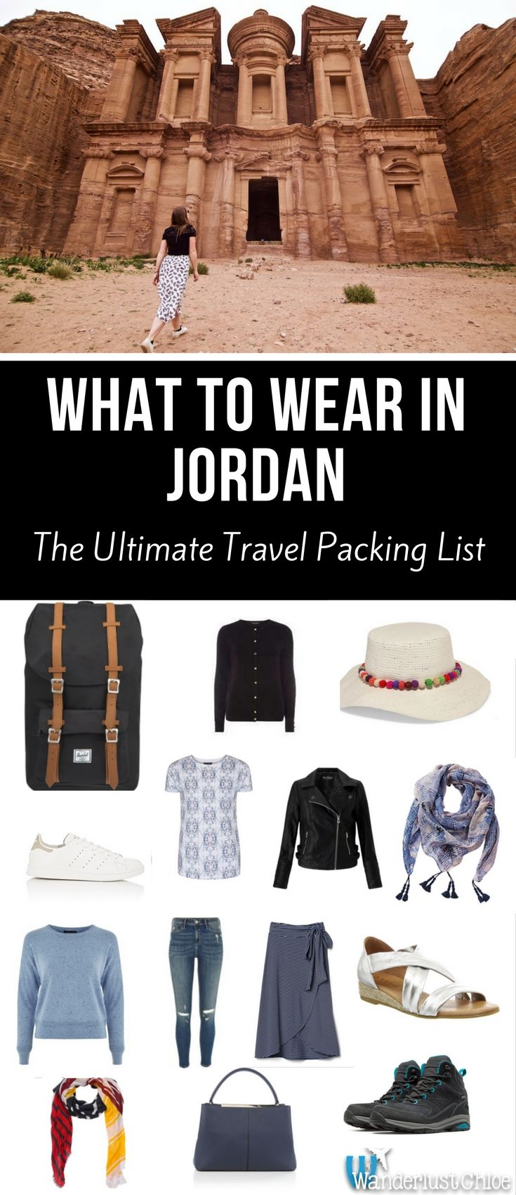 What To Wear In Jordan - The Ultimate Travel Packing List . From footwear and accessories to what women should wear in Jordan, this is a great guide to clothing in Jordan. https://www.wanderlustchloe.com/what-to-wear-jordan-clothes-packing-guide/