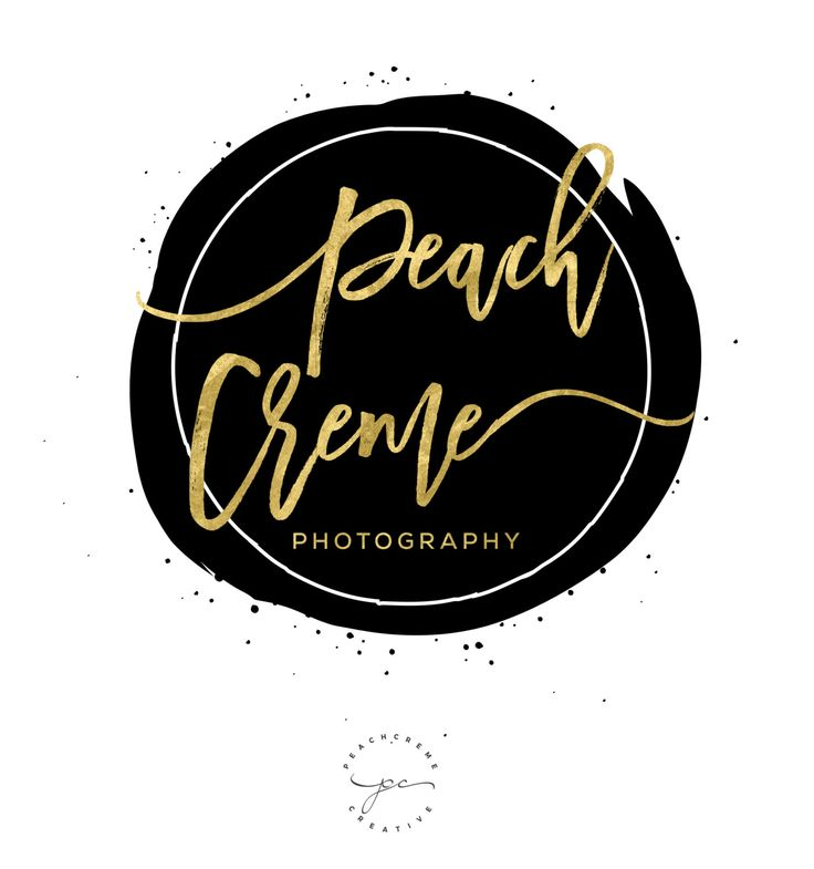 Black Watercolor Logo, Circle Golden Logo Design, Photography watercolor stamp, Gold chic by PeachCreme on Etsy