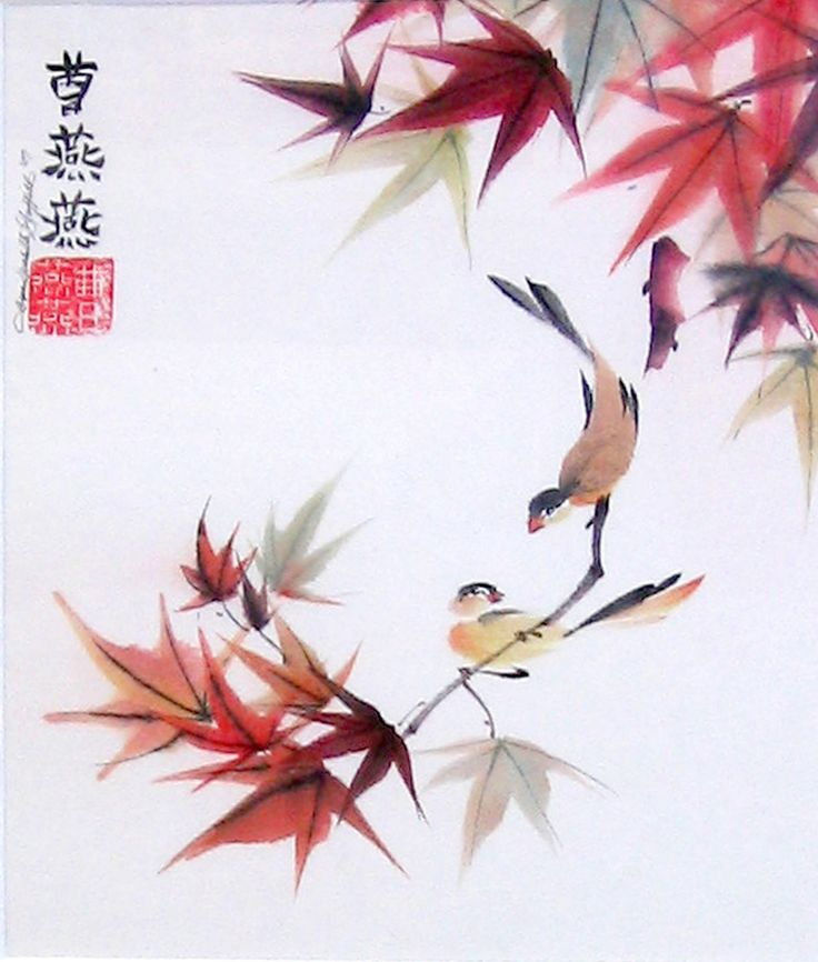 Two Birds Play Among Fall Foliage of Japanese Maples-inksart.com: Japan Birds, Japanese Art, Fall Leaves, Japan Art, Artworks Request, Autumn Call Jpg, Birds Plays, Artists Signature, Japan Maple Inksart Com