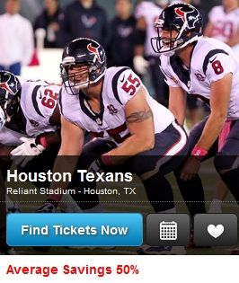 Discount Houston Texans Tickets: Save 10%-50% via www.houstononthecheap.com
